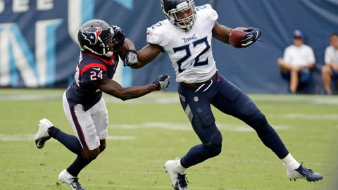 <p>               FILE - In this Sept. 16, 2018, file photo, Tennessee Titans running back Derrick Henry (22) tries to get past Houston Texans defensive back Johnathan Joseph (24) in an NFL football game in Nashville, Tenn. Quarterback Marcus Mariota has been carrying the Tennessee run game during two of the Titans' last three victories in this winning streak. They hope to get Henry and Dion Lewis going against Buffalo after facing some very stingy defenses to start the season. (AP Photo/James Kenney, File)             </p>