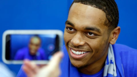 <p>               Kentucky's PJ Washington listens to a question during the university's NCAA college basketball media, Thursday, Oct. 11, 2018, in Lexington, Ky. (AP Photo/James Crisp)             </p>