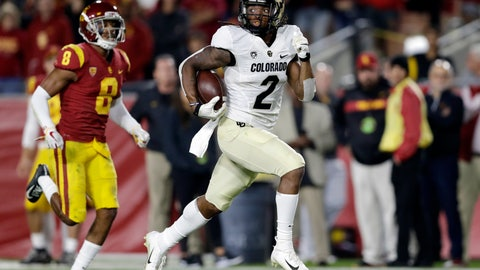 <p>               Colorado wide receiver Laviska Shenault Jr. runs for a touchdown after a reception, past Southern California cornerback Iman Marshall (8) during the first half of an NCAA college football game Saturday, Oct. 13, 2018, in Los Angeles. (AP Photo/Marcio Jose Sanchez)             </p>