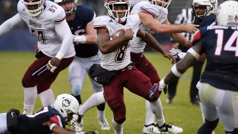 <p>               Massachusetts running back Marquis Young (8) breaks a tackle and runs for yardage during the second half of an NCAA college football game against Connecticut, Saturday, Oct. 27, 2018, in East Hartford, Conn. (AP Photo/ (AP Photo/Jessica Hill)             </p>