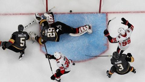<p>               Ottawa Senators players celebrate after Ottawa Senators right wing Bobby Ryan, not pictured, scored on Vegas Golden Knights goaltender Marc-Andre Fleury (29) during the second period of an NHL hockey game, Sunday, Oct. 28, 2018, in Las Vegas. (AP Photo/John Locher)             </p>
