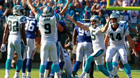 <p>               Carolina Panthers' Graham Gano (9) celebrates his game-winning field goal against the New York Giants with Michael Palardy (5) in the second half of an NFL football game in Charlotte, N.C., Sunday, Oct. 7, 2018. (AP Photo/Jason E. Miczek)             </p>