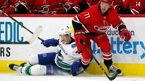 <p>               Carolina Hurricanes' Lucas Wallmark (71) battles with Vancouver Canucks' Nikolay Goldobin (77) during the second period of an NHL hockey game, Tuesday, Oct. 9, 2018, in Raleigh, N.C. (AP Photo/Karl B DeBlaker)             </p>