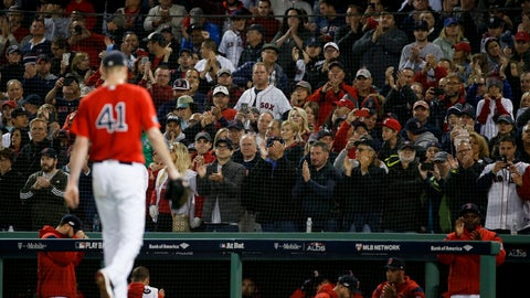 <p>               Fans cheers as Boston Red Sox starting pitcher Chris Sale leaves the baseball game against the New York Yankees during the sixth inning of Game 1 of an American League Division Series on Friday, Oct. 5, 2018, in Boston. (AP Photo/Elise Amendola)             </p>