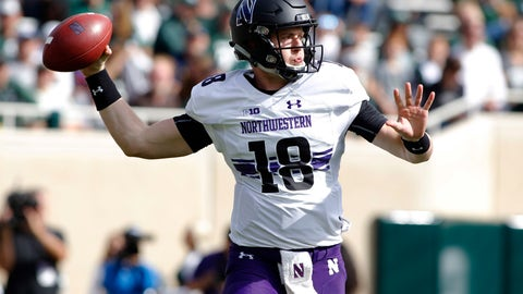 <p>               Northwestern quarterback Clayton Thorson throws a pass against Michigan State during the first quarter of an NCAA college football game, Saturday, Oct. 6, 2018, in East Lansing, Mich. (AP Photo/Al Goldis)             </p>