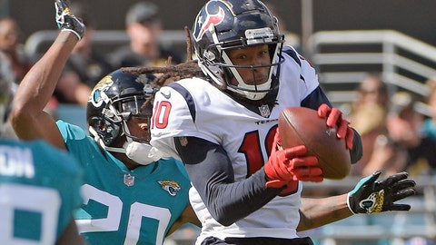 <p>               Houston Texans wide receiver DeAndre Hopkins, right, catches a pass in front of Jacksonville Jaguars cornerback Jalen Ramsey (20) for a touchdown on a 10-yard pass play during the second half of an NFL football game, Sunday, Oct. 21, 2018, in Jacksonville, Fla. (AP Photo/Phelan M. Ebenhack)             </p>