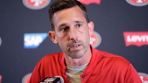 <p>               FILE  - In this Sunday, Sept. 30, 21018, file photo, San Francisco 49ers head coach Kyle Shanahan speaks during a news conference following a 29-27 loss to the Los Angeles Chargers in an NFL football game, in Carson, Calif. (AP Photo/Jae Hong, File)             </p>