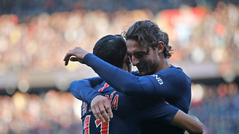 <p>               PSG's Adrien Rabiot, right, celebrates with his teammate PSG's Angel Di Maria after scoring his side's second goal during the French League One soccer match between Paris-Saint-Germain and Amiens at the Parc des Princes stadium in Paris, France, Saturday, Oct. 20, 2018. (AP Photo/Francois Mori)             </p>