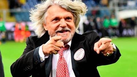 <p>               Sampdoria president Massimo Ferrero gestures on the pitch prior to the Italian Serie A soccer match between Sampdoria and Sassuolo at the Luigi Ferraris stadium in Genoa, Italy, Monday, Oct. 22, 2018. (Luca Zennaro/ANSA via AP             </p>
