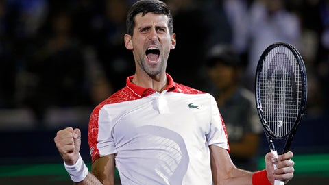 <p>               FILE  - In this Sunday, Oct. 14, 2018 file photo, Novak Djokovic of Serbia celebrates after defeating Borna Coric of Croatia in their men's singles final match in the Shanghai Masters tennis tournament at Qizhong Forest Sports City Tennis Center in Shanghai, China. Djokovic is in electric form heading into the Paris Masters, where he is well poised to wrestle back the No. 1-ranking from longtime rival Rafael Nadal. (AP Photo/Andy Wong, File)             </p>