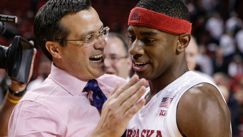 """<p>               FILE - In this Dec. 5, 2017, file photo, Nebraska coach Tim Miles celebrates with Glynn Watson Jr., who scored 29 points, following the team's NCAA college basketball game against Minnesota, in Lincoln, Neb. Tim Miles was out of town this summer when he received a surprise text from Glynn Watson Jr. that touched his emotions. """"Coach, I can't wait to lead this team and take Nebraska basketball places they've never been before,"""" Miles said, recounting the senior's message. """"I literally almost cried because that just meant so much to me, knowing what he's been through, seeing teammates leave, just the whole thing. Then having an excellent season last year but having it not go where we wanted it to go."""" (AP Photo/Nati Harnik, File)             </p>"""