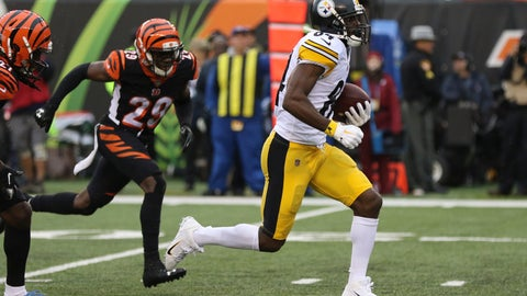 <p>               Pittsburgh Steelers wide receiver Antonio Brown (84) runs for a touchdown in the second half of an NFL football game against the Cincinnati Bengals, Sunday, Oct. 14, 2018, in Cincinnati. (AP Photo/Gary Landers)             </p>