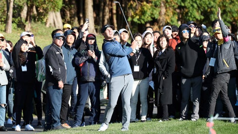 <p>               Brooks Koepka of the United States watches his shot on the 10th hole during the first round of the CJ Cup PGA golf tournament at Nine Bridges on Jeju Island, South Korea, Thursday, Oct. 18, 2018. (Park Ji-ho/Yonhap via AP)             </p>