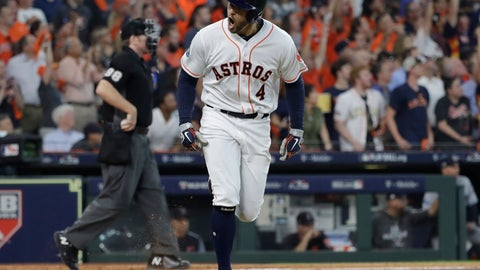 <p>               Houston Astros' George Springer celebrates his solo home run against Cleveland Indians pitcher Corey Kluber during fifth inning in Game 1 of an American League Division Series baseball game Friday, Oct. 5, 2018, in Houston. (AP Photo/David J. Phillip)             </p>