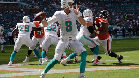 <p>               Miami Dolphins quarterback Brock Osweiler (8) looks to pass during the first half of an NFL football game against the Chicago Bears, Sunday, Oct. 14, 2018, in Miami Gardens, Fla. (AP Photo/Lynne Sladky)             </p>