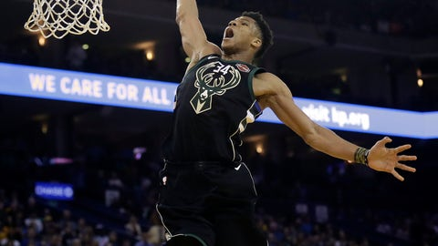 <p>               FILE - In this March 29, 2018, file photo, Milwaukee Bucks' Giannis Antetokounmpo dunks past Golden State Warriors' Andre Iguodala during the first half of an NBA basketball game, in Oakland, Calif. Antetokounmpo is still only 23, but he's entering his sixth season in the NBA. (AP Photo/Marcio Jose Sanchez, FIle)             </p>