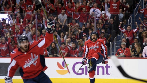 <p>               Washington Capitals left wing Alex Ovechkin (8), of Russia, celebrates his goal during the second period of an NHL hockey game against the Vegas Golden Knights, Wednesday, Oct. 10, 2018, in Washington. (AP Photo/Nick Wass)             </p>