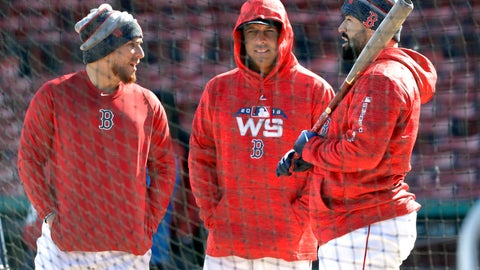 <p>               Boston Red Sox manager Alex Cora, middle, chats with catchers, Christian Vazquez, left, and Sandy Leon, right, during a baseball work out at Fenway Park, Sunday, Oct. 21, 2018, in Boston. The Red Sox are preparing for Game 1 of the baseball World Series against the Los Angeles Dodgers scheduled for Tuesday in Boston. (AP Photo/Elise Amendola)             </p>