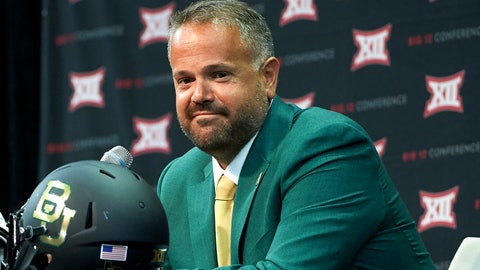 <p>               FILE - In this July 17, 2018, file photo, Baylor head coach Matt Rhule speaks during the NCAA college football Big 12 media days, in Frisco, Texas. The Big 12 board of directors has unanimously approved and adopted an independent verification report that says Baylor has implemented recommendations for reforming its Title IX process after a campus sexual assault scandal broke more than two years ago. With the board's action Tuesday, Oct. 30, 2018, the Big 12 will no longer withhold a portion of Baylor's share of revenue distribution.  (AP Photo/Cooper Neill, File)             </p>
