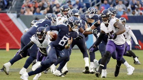 <p>               FILE - In this game Sunday, Oct. 14, 2018, file photo, Tennessee Titans quarterback Marcus Mariota (8) scrambles against the Baltimore Ravens in the second half of an NFL football in Nashville, Tenn. The Titans face the Charges on Saturday in Los Angeles. (AP Photo/James Kenney, File)             </p>