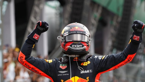 <p>               Red Bull driver Max Verstappen, of the Netherlands, celebrates his first place finish in the Formula One Mexico Grand Prix auto race at the Hermanos Rodriguez racetrack in Mexico City, Sunday, Oct. 28, 2018. (AP Photo/Moises Castillo)             </p>