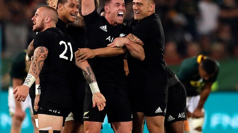 <p>               New Zealand's players celebrate at the end the Rugby Championship match between South Africa and New Zealand at Loftus Versfeld stadium in Pretoria, South Africa, Saturday, Oct. 6, 2018. (AP Photo/Themba Hadebe)             </p>