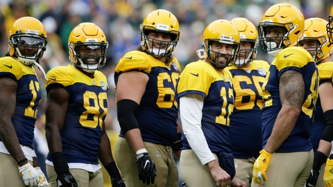 <p>               Green Bay Packers' Aaron Rodgers and teammates smile at fans during a break in the second half of an NFL football game Sunday, Sept. 30, 2018, in Green Bay, Wis. The Packers won 22-0. (AP Photo/Jeffrey Phelps)             </p>