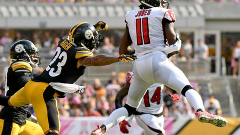 <p>               Atlanta Falcons wide receiver Julio Jones (11) makes a catch past Pittsburgh Steelers cornerback Joe Haden (23) in the second half of an NFL football game, Sunday, Oct. 7, 2018, in Pittsburgh. (AP Photo/Don Wright)             </p>