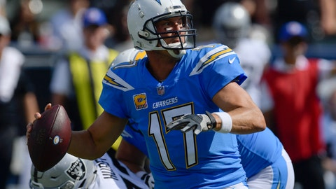 <p>               Los Angeles Chargers quarterback Philip Rivers prepares to throw a pass during the first half of an NFL football game against the Oakland Raiders, Sunday, Oct. 7, 2018, in Carson, Calif. (AP Photo/Mark J. Terrill)             </p>