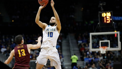 <p>               FILE - In this March 22, 2018, file photo, Nevada forward Caleb Martin (10) shoots a 3-point shot over Loyola-Chicago guard Clayton Custer (13) during the first half of a regional semifinal NCAA college basketball game in Atlanta. The Wolf Pack return preseason All-American Caleb Martin, their top three scorers and added a strong cache of transfers.  (AP Photo/David Goldman, File)             </p>