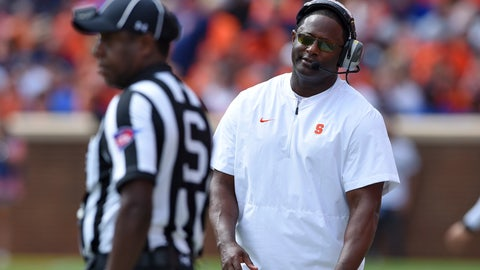 <p>               Syracuse head coach Dino Babers reacts to an officials call during the second half of an NCAA college football game against Clemson, Saturday, Sept. 29, 2018, in Clemson, S.C. Clemson won 27-23. (AP Photo/Richard Shiro)             </p>