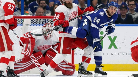 <p>               Tampa Bay Lightning's Ryan Callahan is defended against by Detroit Red Wings' Luke Witkowski in front of goaltender Jimmy Howard during the first period of an NHL hockey game Thursday, Oct. 18, 2018, in Tampa, Fla. (AP Photo/Mike Carlson)             </p>