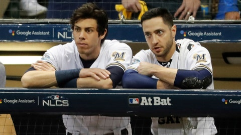 <p>               Milwaukee Brewers' Christian Yelich and Ryan Braun watch during the ninth inning of Game 7 of the National League Championship Series baseball game against the Los Angeles Dodgers Saturday, Oct. 20, 2018, in Milwaukee. The Dodgers won 5-1. (AP Photo/Jeff Roberson)             </p>