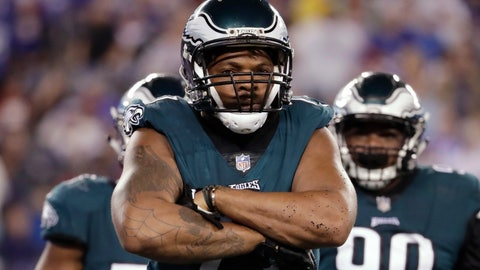 <p>               Philadelphia Eagles defensive end Michael Bennett celebrates after a strip sack on New York Giants quarterback Eli Manning during the first half of an NFL football game Thursday, Oct. 11, 2018, in East Rutherford, N.J. The Giants recovered the fumble on the play. (AP Photo/Julio Cortez)             </p>