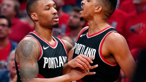 <p>               FILE - In this April 21, 2018, file photo, Portland Trail Blazers guard Damian Lillard, left, restrains guard CJ McCollum during the first half of Game 4 of a first-round NBA basketball playoff series against the New Orleans Pelicans in New Orleans. It's gonna look much the same as last year for the Trail Blazers with Lillard and McCollum in the backcourt, Jusuf Nurkic at center and Al-Farouq Aminu and Maurice Harkless at forward. (AP Photo/Scott Threlkeld, File)             </p>