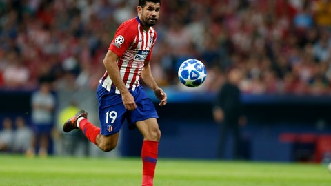 <p>               Atletico forward Diego Costa eyes the ball during a Group A Champions League soccer match between Atletico Madrid and Club Brugge at the Wanda Metropolitano stadium in Madrid, Spain, Wednesday Oct. 3, 2018. (AP Photo/Paul White)             </p>