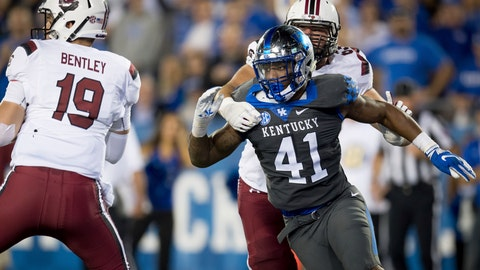 <p>               FILE - In this Sept. 29, 2018, file photo, Kentucky linebacker Josh Allen (41) rushes South Carolina quarterback Jake Bentley (19) during the second half of an NCAA college football game, in Lexington, Ky. Allen was named to The Associated Press Midseason All-America team, Tuesday, Oct. 16, 2018. (AP Photo/Bryan Woolston, File)             </p>