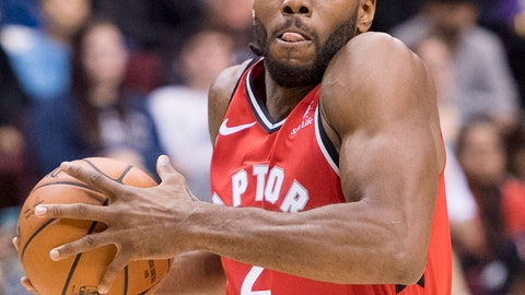 <p>               FILE - In this Sept. 29, 2018, file photo, Toronto Raptors forward Kawhi Leonard (2) looks towards the basket during the second half of a preseason NBA basketball game against the Portland Trail Blazers, in Vancouver. The Raptors want Leonard at his best right now, so they can push for the Eastern Conference crown, but also hope their new star likes playing in Toronto enough to stick around when he becomes eligible for free agency next summer.(Jonathan Hayward/The Canadian Press via AP, File)             </p>