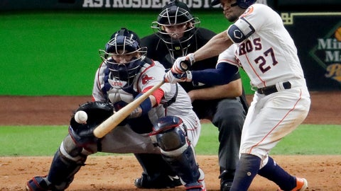 <p>               Houston Astros' Jose Altuve hits a RBI-double against the Boston Red Sox during the eighth inning in Game 4 of a baseball American League Championship Series on Wednesday, Oct. 17, 2018, in Houston. (AP Photo/Lynne Sladky)             </p>