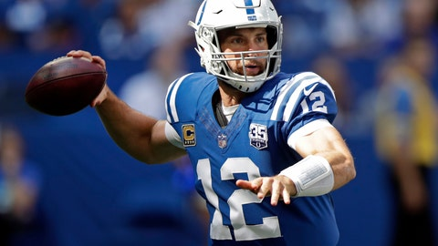 <p>               FILE - In this Sunday, Sept. 30, 2018, file photo, Indianapolis Colts quarterback Andrew Luck throws during the first half of an NFL football game against the Houston Texans in Indianapolis. Luck's surgically-repaired right shoulder is being tested in ways even he couldn't anticipate a month ago. The Colts quarterback officially threw 121 passes during a five-day stretch last week, easily the highest total he's ever accrued in consecutive games.(AP Photo/Michael Conroy, File)             </p>
