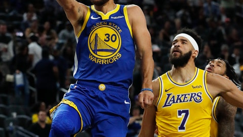 <p>               FILE - In this Oct. 10, 2018, file photo, Golden State Warriors guard Stephen Curry shoots next to Los Angeles Lakers center JaVale McGee during the second half of an NBA preseason basketball game, in Las Vegas. NBA Commissioner Adam Silver will be at Oracle Arena on Tuesday night, handing the Golden State Warriors what will be their third set of championship rings from the last four seasons. A banner will be displayed. Highlights will be shown. And then the Warriors will have to start all over again.(AP Photo/John Locher, File)             </p>
