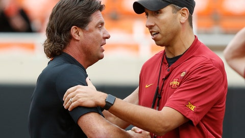 <p>               Oklahoma State head coach Mike Gundy, left, shakes hands with Iowa State head coach Matt Campbell, right, before an NCAA college football game in Stillwater, Okla., Saturday, Oct. 6, 2018. (AP Photo/Sue Ogrocki)             </p>