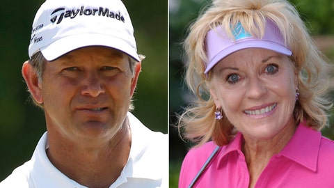 <p>               FILE - At left is a 2018 file photo showing Retief Goosen. At right is a 2003 file photo showing Jan Stephenson.  Two-time U.S. Open champion Retief Goosen and three-time major champion Jan Stephenson are among five people selected for induction into the World Golf Hall of Fame. (AP Photo/File)             </p>
