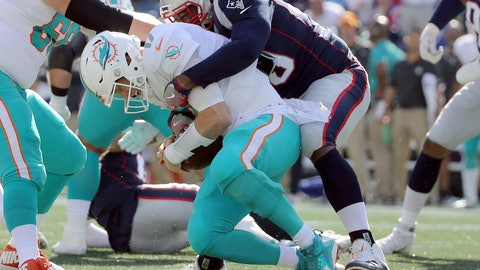 <p>               FILE - In this Sept. 30, 2018, file photo, New England Patriots defensive tackle Adam Butler, right, sacks Miami Dolphins quarterback Ryan Tannehill (17) during the second half of an NFL football game, in Foxborough, Mass. Tannehill has been taking a pounding. He and the Dolphins will try and regroup for Sunday's game against Chicago(AP Photo/Elise Amendola, File)             </p>