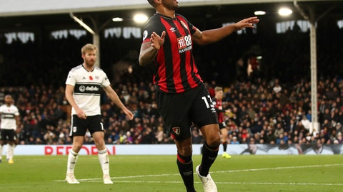 <p>               Bournemouth's Callum Wilson celebrates scoring his side's third goal of the game against Fulham during their English Premier League soccer match at Craven Cottage in London, Saturday Oct. 27, 2018. (John Walton/PA via AP)             </p>