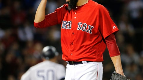 <p>               Boston Red Sox starting pitcher David Price reacts after giving up a home run to New York Yankees' Aaron Judge at the end of the top of the first inning of Game 2 of a baseball American League Division Series, Saturday, Oct. 6, 2018, in Boston. (AP Photo/Elise Amendola)             </p>