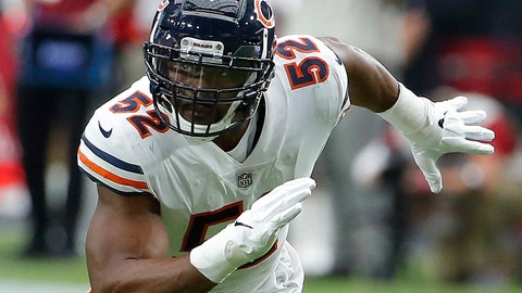 <p>               FILE - In this Sept. 23, 2018, file photo, Chicago Bears linebacker Khalil Mack (52) is shown in action in the first half during an NFL football game against the Arizona Cardinals, in Glendale, Ariz. Last week the Miami Dolphins tried assigning eight players to help with pass protection, and even that didn't prevent Ryan Tannehill from getting hit. And now the Dolphins have to block Khalil Mack. (AP Photo/Rick Scuteri, File)             </p>