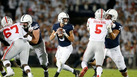 <p>               Penn State quarterback Trace McSorley (9) drops back to pass against Ohio State during the first half of an NCAA college football game in State College, Pa., Saturday, Sept. 29, 2018. (AP Photo/Chris Knight)             </p>