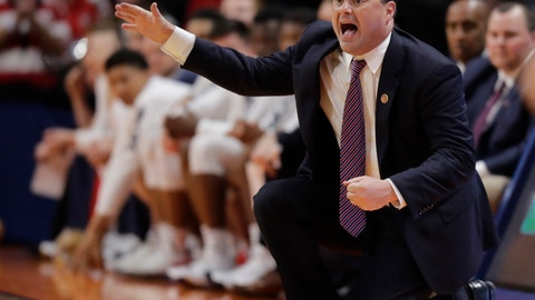 <p>               FILE - In this March 15, 2018, file photo, Arizona coach Sean Miller calls out during a first-round game against Buffalo in the NCAA men's college basketball tournament in Boise, Idaho. Coming off a sweep of the Pac-12 regular-season and tournament titles, the Wildcats are in rebuilding mode the 2018-19 season. (AP Photo/Ted S. Warren, File)             </p>
