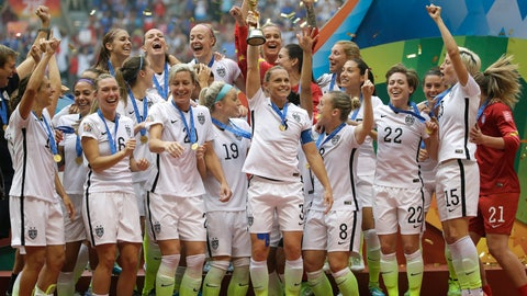 <p>               FILE - In this July 5, 2015, file photo, the United States Women's National Team celebrates with the trophy after they beat Japan 5-2 in the FIFA Women's World Cup soccer championship, in Vancouver, British Columbia. FIFA President Gianni Infantino understands why female footballers are unhappy about the lack of gender equality in World Cup prize money but says doubling the cash for finalists to $30 million represents significant progress. (AP Photo/Elaine Thompson, File)             </p>